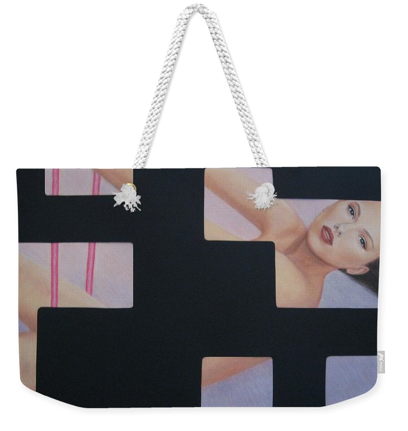 Woman Weekender Tote Bag featuring the painting Innocent Flirtation by Lynet McDonald