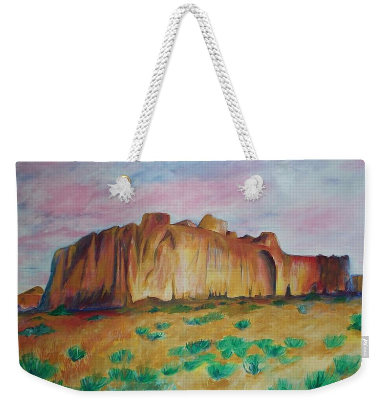 Western Landscapes Weekender Tote Bag featuring the painting Inscription Rock by Eric Schiabor
