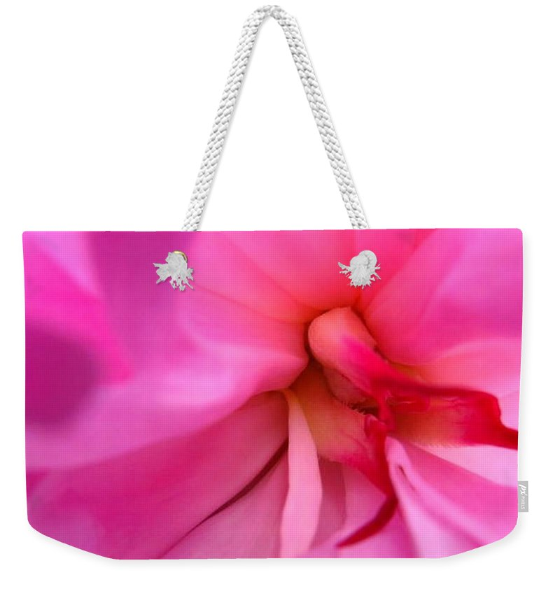 Flower Weekender Tote Bag featuring the photograph Inside A Peony by Rhonda Barrett
