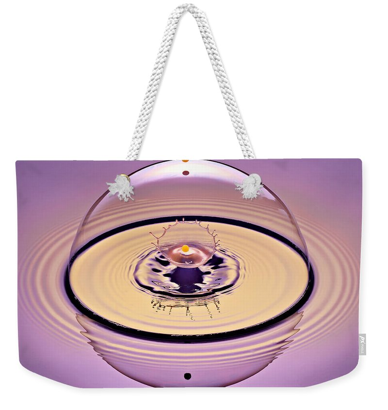 Water Drop Collision Weekender Tote Bag featuring the photograph Inside A Saturn Bubble by Susan Candelario