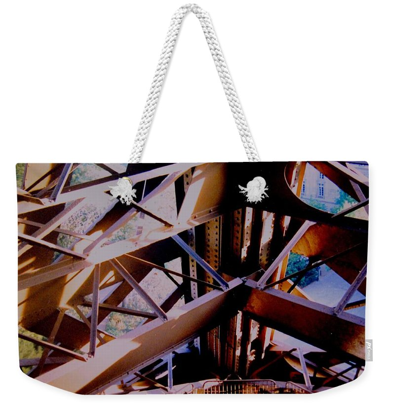 Eiffel Weekender Tote Bag featuring the photograph Inside Eiffel by Ian MacDonald