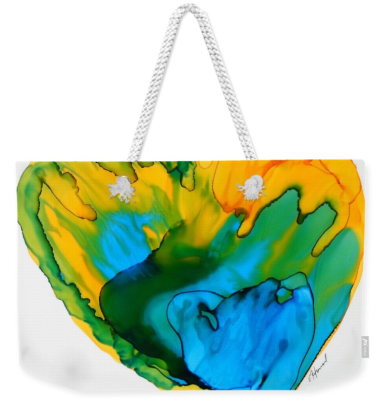 Alcohol Ink Weekender Tote Bag featuring the painting Inside My Heart 3 by Vicki Housel
