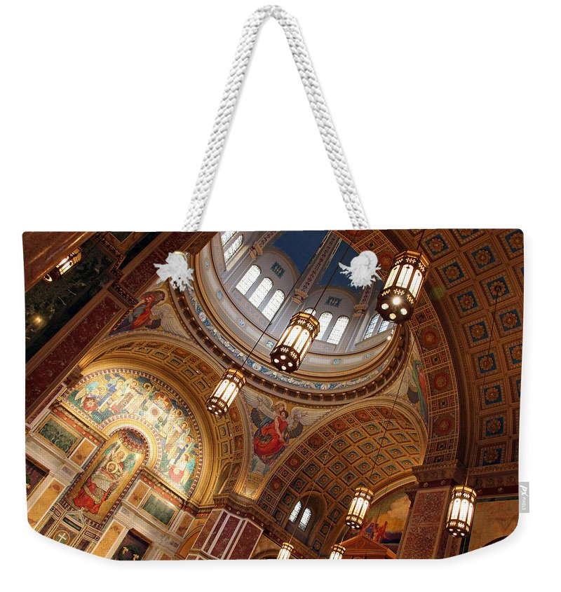 Saint Weekender Tote Bag featuring the photograph Inside Saint Matthew's Cathedral -- At An Angle by Cora Wandel