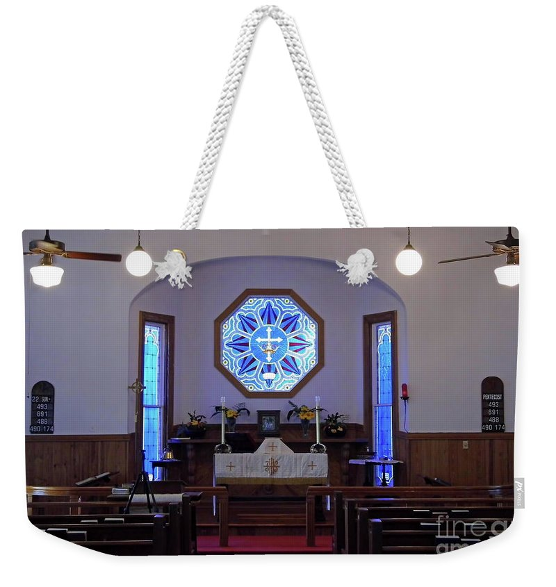 Church Weekender Tote Bag featuring the photograph Inside The Church Of The Mediator by D Hackett