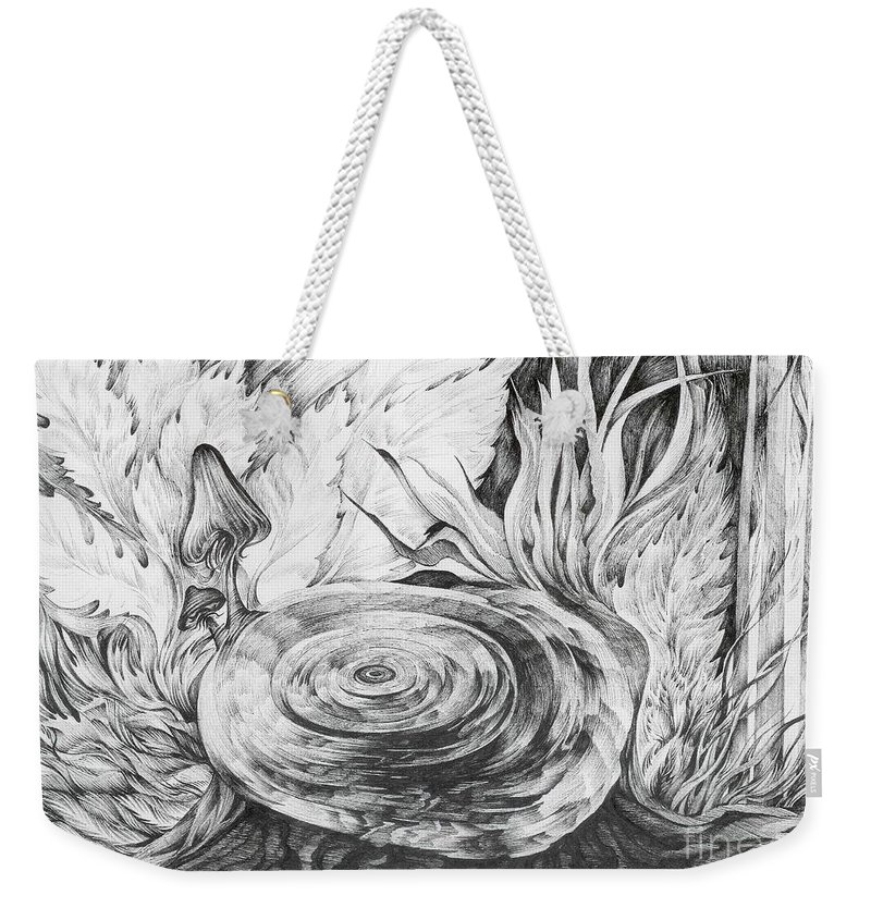 Tree Stump Weekender Tote Bag featuring the drawing Inside The Forest by Anna Duyunova