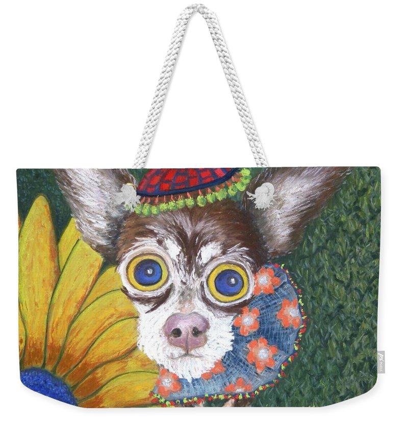 Chihauhau Weekender Tote Bag featuring the painting Inside Van Gogh Gardens Sits Sunflower Sally by Minaz Jantz