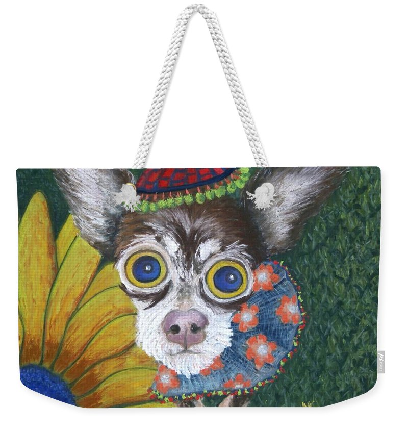 Chihuahua Weekender Tote Bag featuring the painting Inside Van Gogh's Garden Sits Sunflower Sally by Minaz Jantz