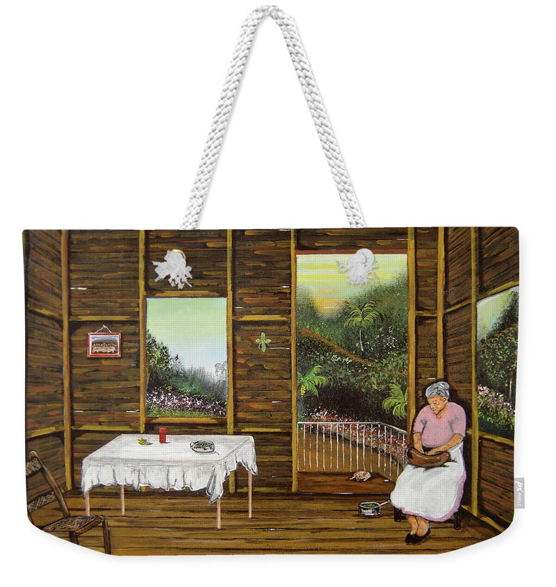 Puerto Rico Wooden Home Weekender Tote Bag featuring the painting Inside Wooden Home by Gloria E Barreto-Rodriguez