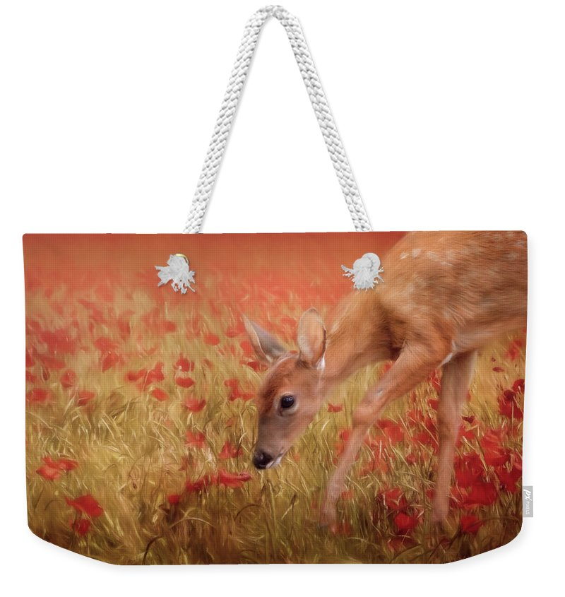 Jai Johnson Weekender Tote Bag featuring the photograph Inspecting The Poppies by Jai Johnson