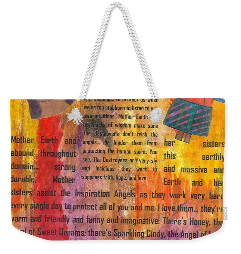 Angels Weekender Tote Bag featuring the mixed media Inspiration Angels II by Angela L Walker