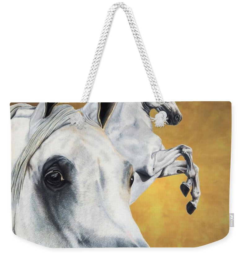 Horse Weekender Tote Bag featuring the drawing Inspiration by Kristen Wesch