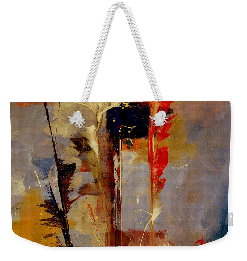 Abstract Botanical Floral Flowers Color Red Pink Blue White Yellow Orange Purple Weekender Tote Bag featuring the painting Inspire Me by Ruth Palmer