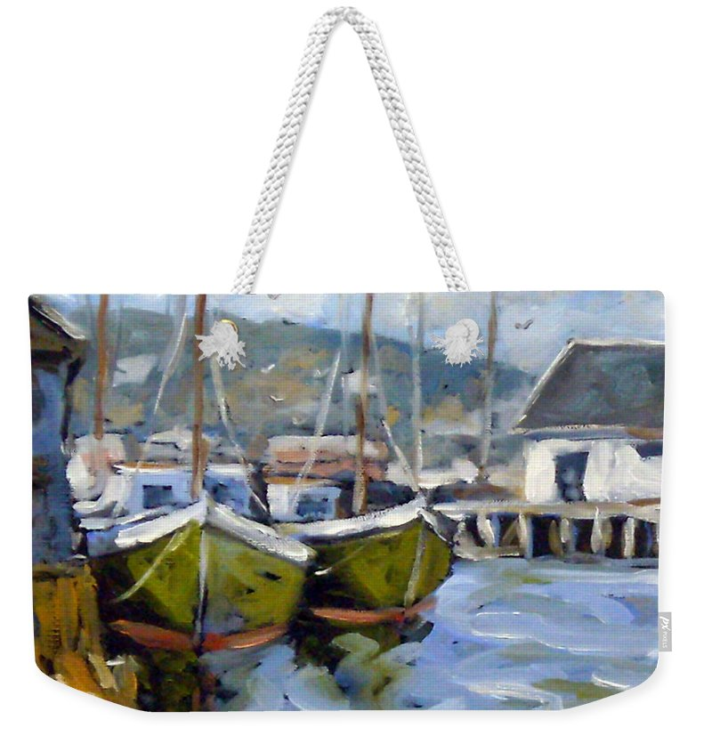 Fishing Boats; Seascape Weekender Tote Bag featuring the painting Inspired By E Gruppe by Richard T Pranke