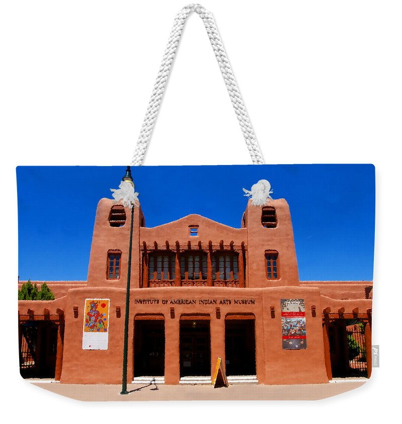 Institute Of American Indian Arts Museum Weekender Tote Bag featuring the painting Institute Of American Indian Arts Museum by David Lee Thompson