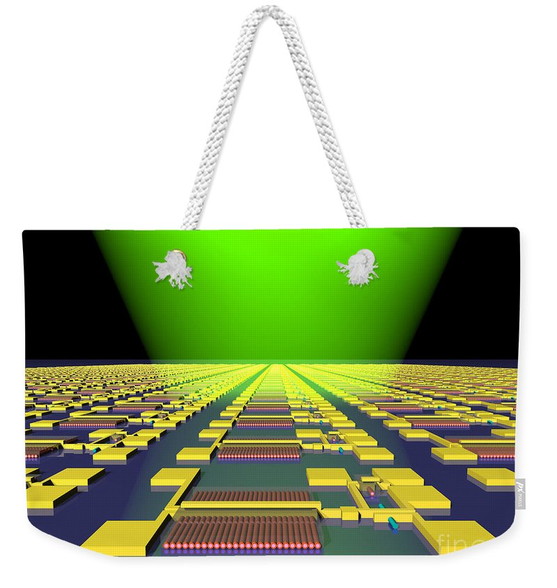 Science Weekender Tote Bag featuring the photograph Integrated Nanowire Sensor Circuitry by Science Source