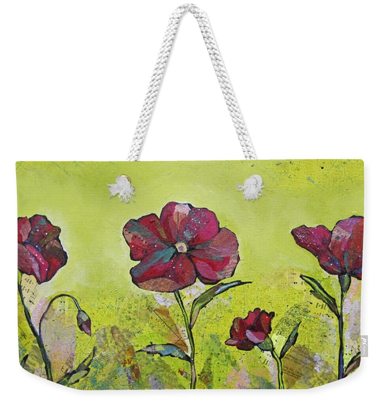 Bright Weekender Tote Bag featuring the painting Intensity Of The Poppy II by Shadia Derbyshire