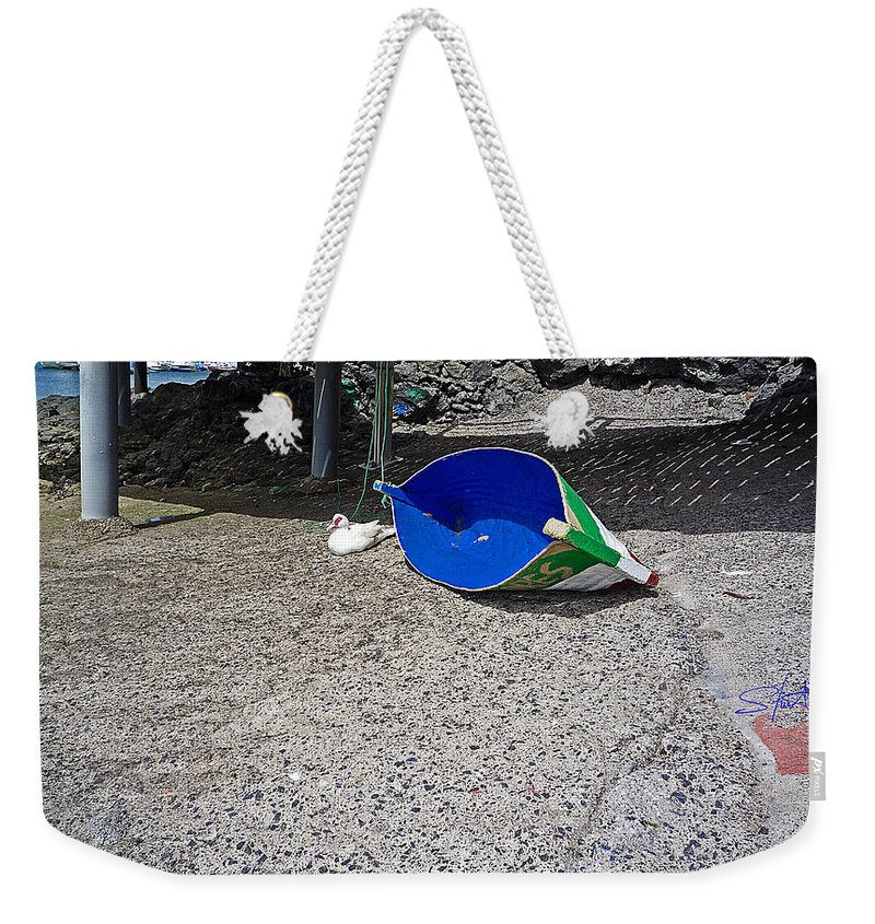 Boat Weekender Tote Bag featuring the photograph Interior Blue by Charles Stuart
