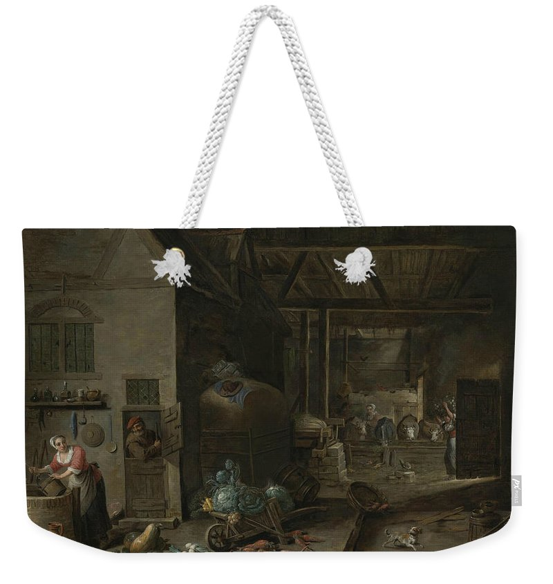 17th Century Art Weekender Tote Bag featuring the painting Interior Of A Farmhouse With Figures And Animals by David Teniers the Younger