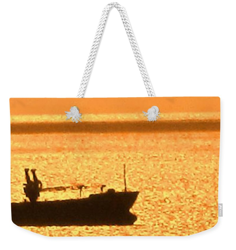 Ship Weekender Tote Bag featuring the photograph Interisland Freighter by Ian MacDonald