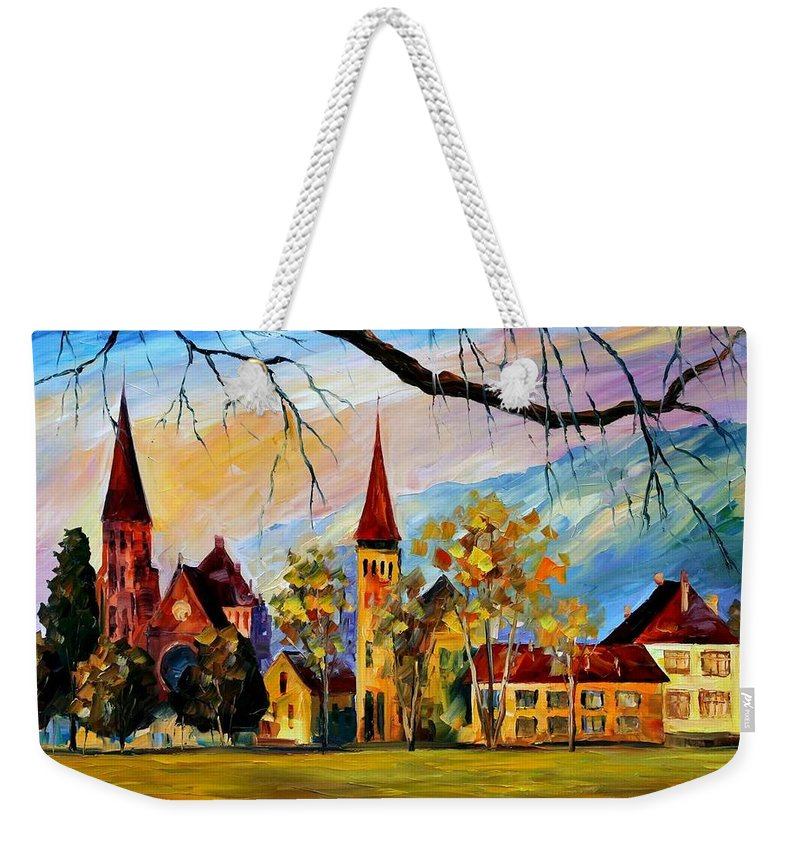 Afremov Weekender Tote Bag featuring the painting Interlaken Switzerland by Leonid Afremov