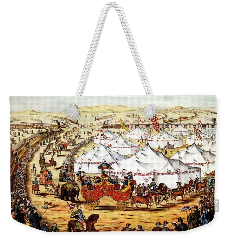 Circus Weekender Tote Bag featuring the mixed media International Exposition - Vintage Circus Advertising Poster by Studio Grafiikka