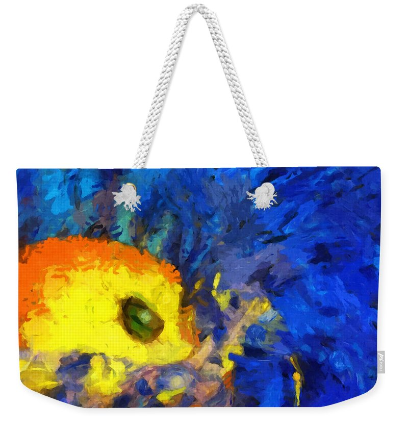 Abstract Weekender Tote Bag featuring the mixed media Interplay by Stacey Chiew