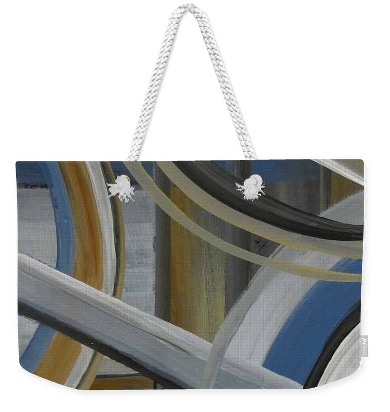 Abstract Weekender Tote Bag featuring the painting Intersection In Blue 2 by Anita Burgermeister