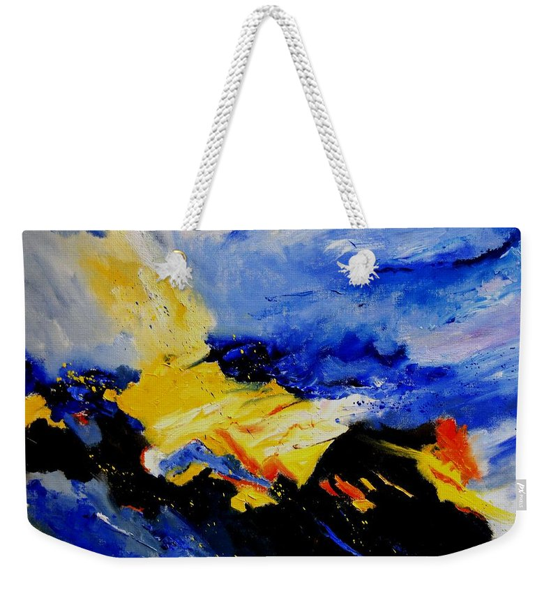 Abstract Weekender Tote Bag featuring the painting Interstellar Overdrive 2 by Pol Ledent