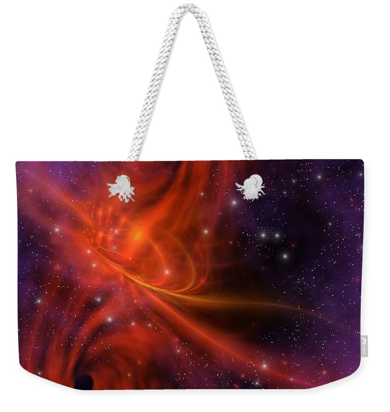 Interstellar Twister Weekender Tote Bag featuring the painting Interstellar Twister by Corey Ford