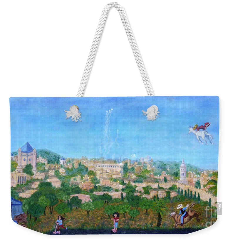 Jerusalem Weekender Tote Bag featuring the painting Intertwine by Kay Zanger