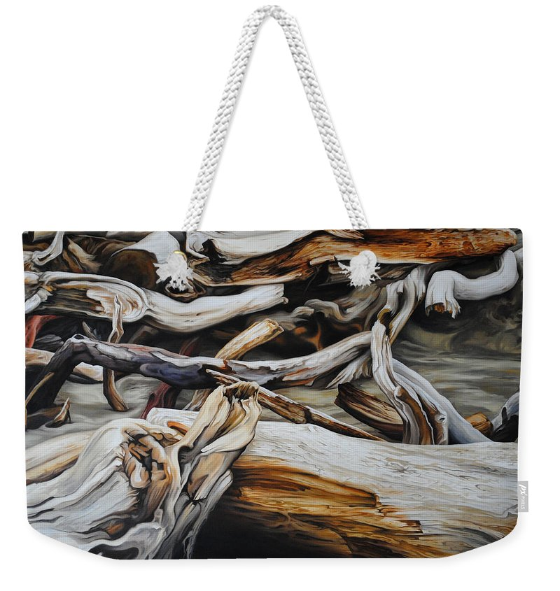 Driftwood Weekender Tote Bag featuring the painting Intertwined by Chris Steinken