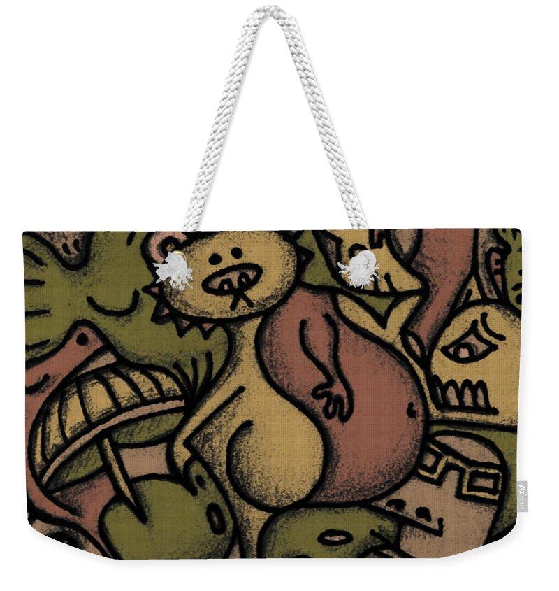 Kaki Weekender Tote Bag featuring the digital art Interwhining1 by Kelly Jade King
