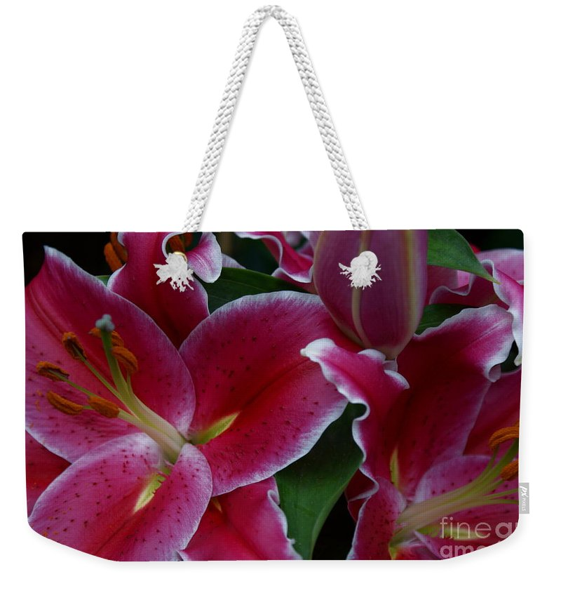 Lilies Weekender Tote Bag featuring the photograph Intimate by Joanne Smoley