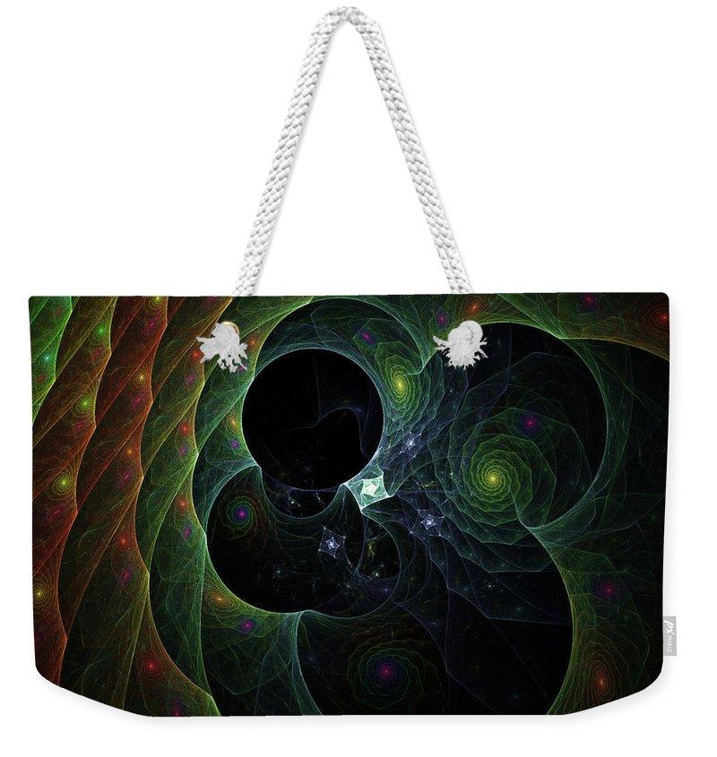 Swirl Weekender Tote Bag featuring the digital art Into Space And Time by Deborah Benoit