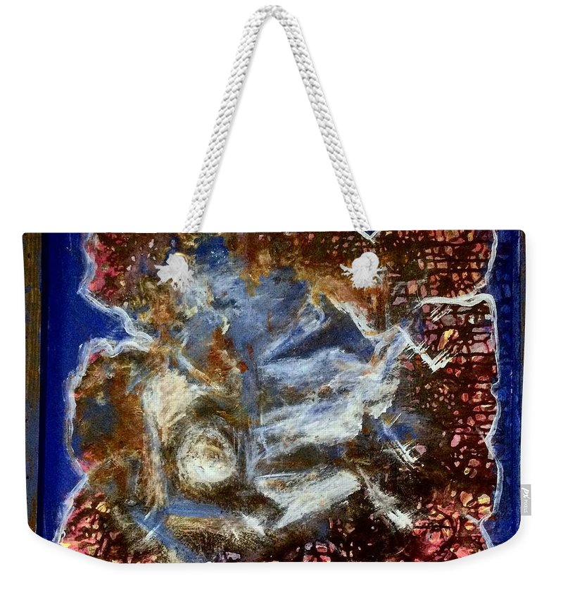 An Abstract Image Weekender Tote Bag featuring the painting Into The Blue by Lia Shartava