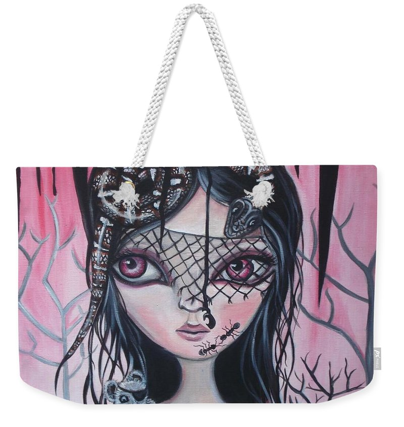 Art Weekender Tote Bag featuring the painting Into The Darkness by Jaz Higgins