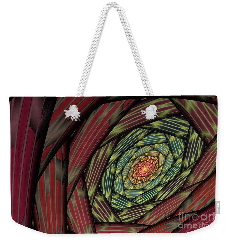 Fractal Weekender Tote Bag featuring the digital art Into The Fantasy Tunnel by Deborah Benoit