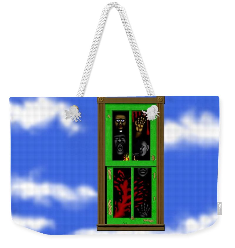 Surrealism Weekender Tote Bag featuring the digital art Into The Green Window by Robert Morin