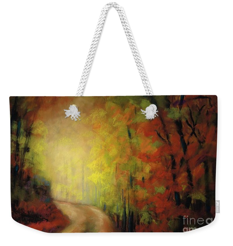 Landscape Weekender Tote Bag featuring the painting Into The Light by Frances Marino