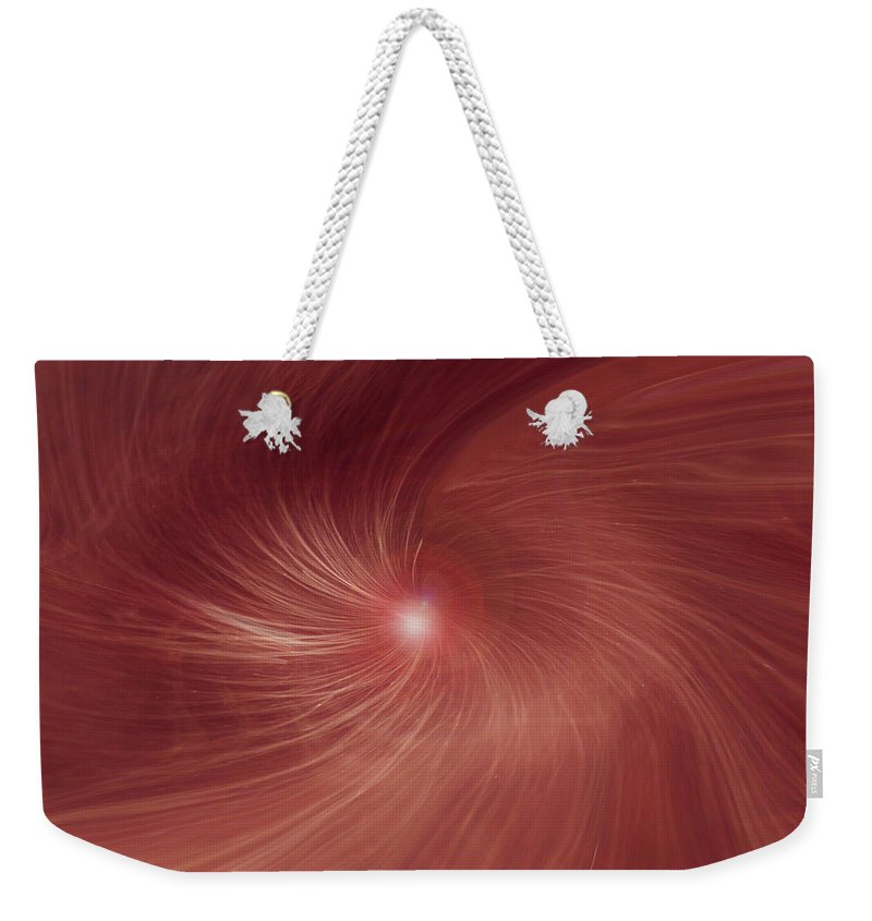 Abstract Red Orandge Light Swirls Digital Design Lines Movement Weekender Tote Bag featuring the digital art Into The Light by Linda Sannuti