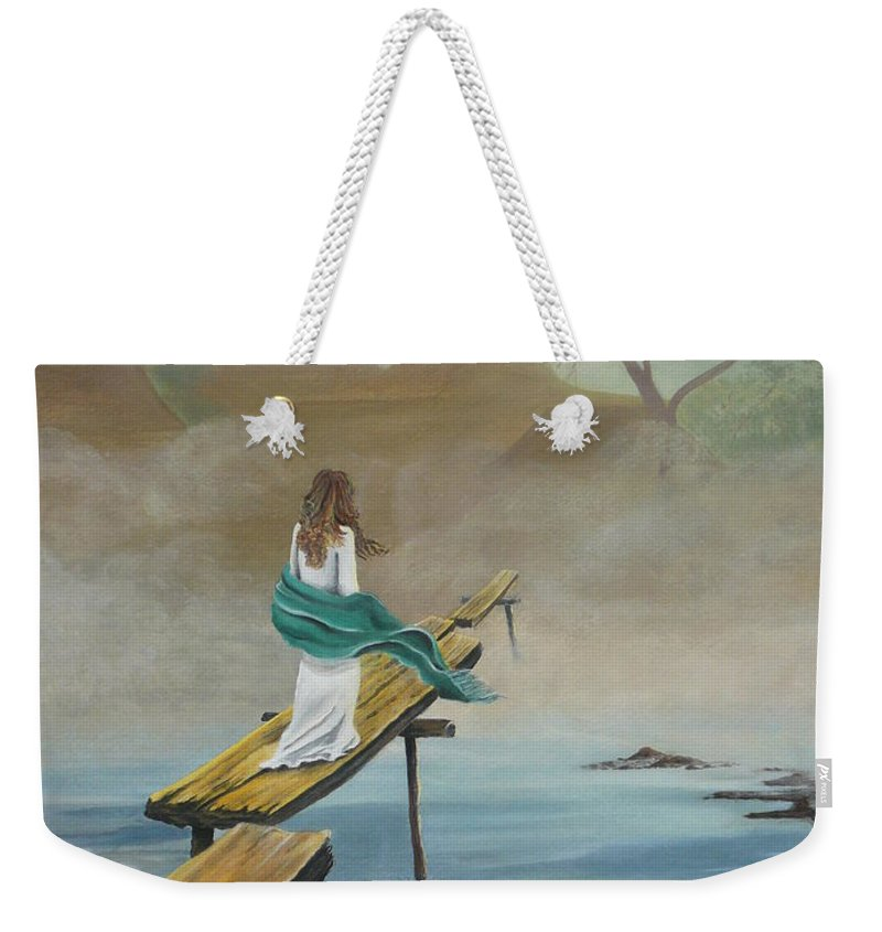 Water Weekender Tote Bag featuring the painting Into The Mist by Kris Crollard