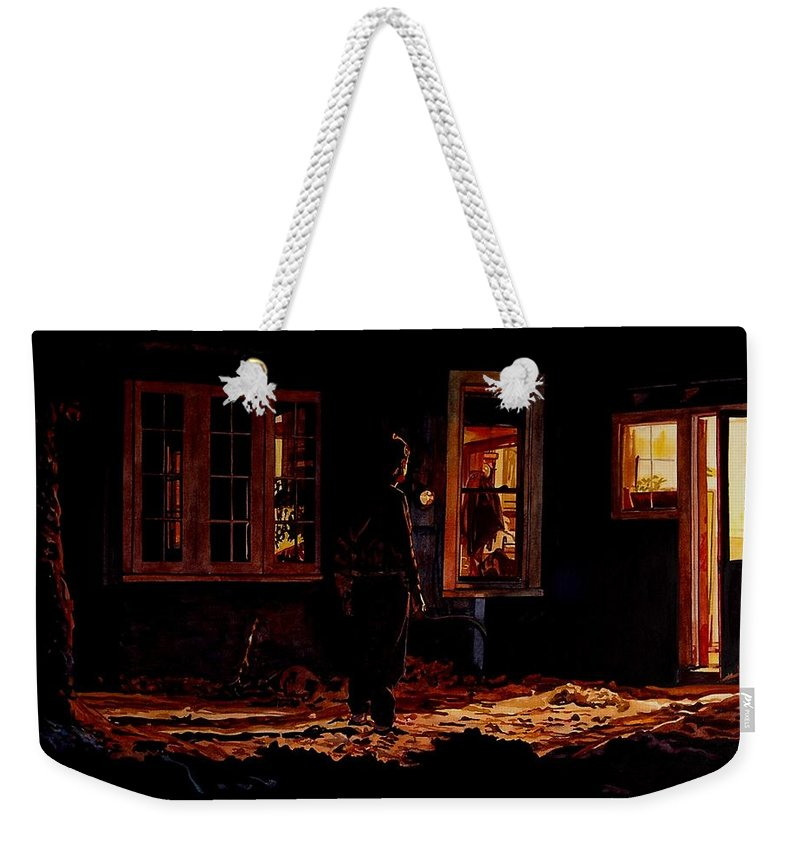 Night Weekender Tote Bag featuring the painting Into The Night by Valerie Patterson
