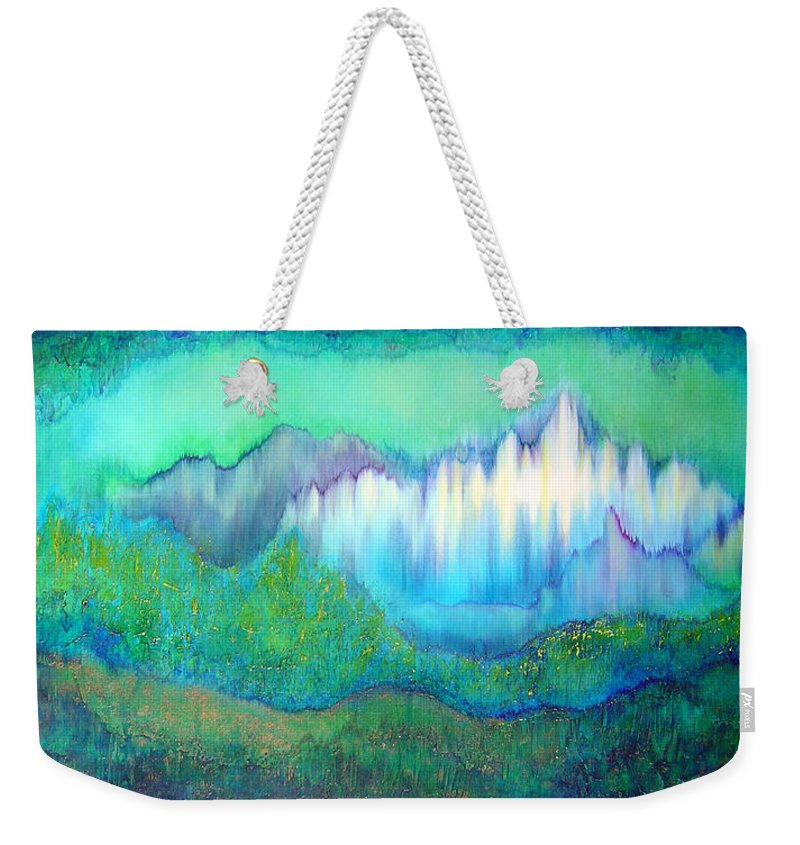 Blue Weekender Tote Bag featuring the painting Into The Ocean by Shadia Derbyshire