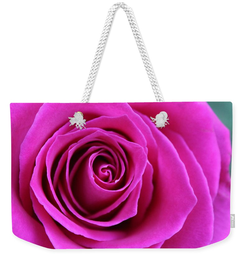 Rose Weekender Tote Bag featuring the photograph Into The Rose by Laura Martin