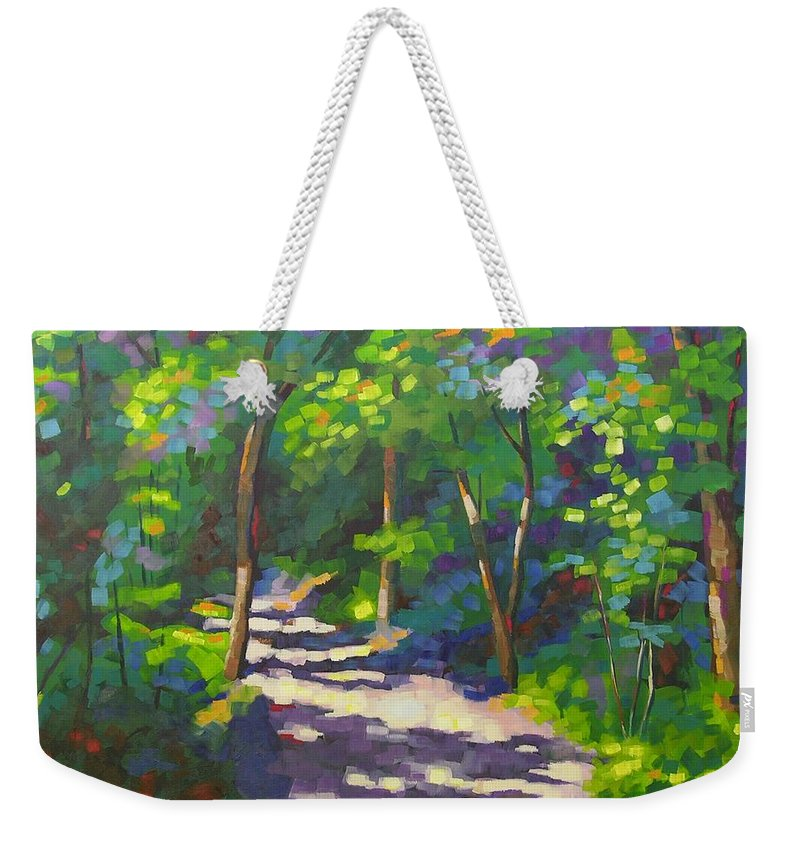 Landscape Weekender Tote Bag featuring the painting Into The Woods by Mary McInnis