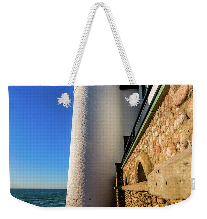 Point Betsie Light Weekender Tote Bag featuring the photograph Intricate Rocks by Joe Holley