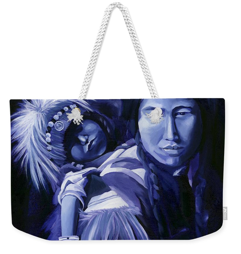 Native American Weekender Tote Bag featuring the painting Inuit Mother And Child by Nancy Griswold
