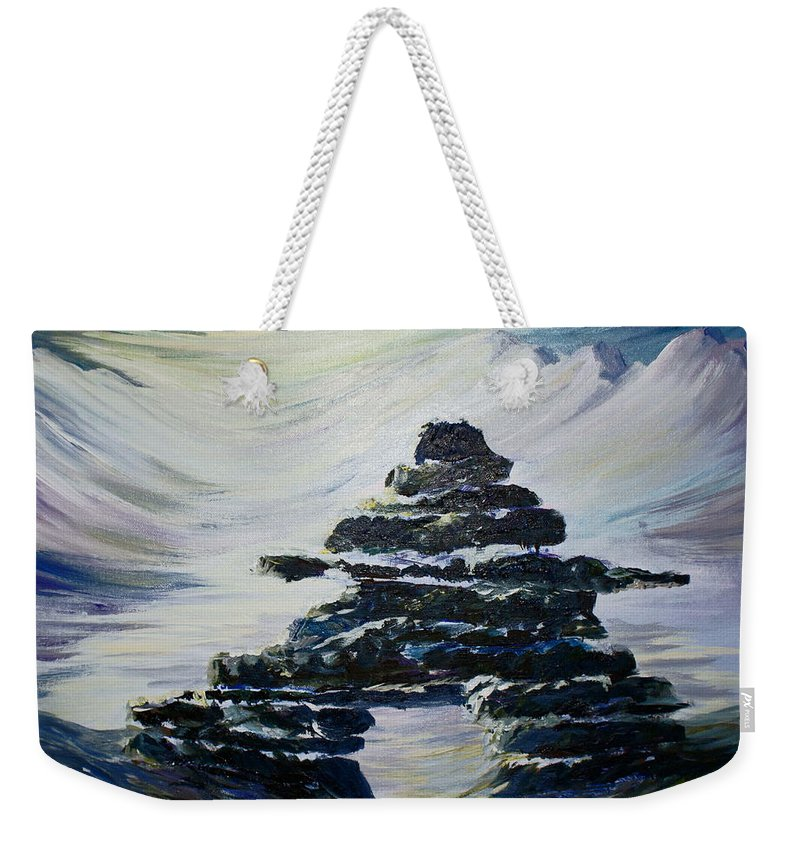 Inukshuk Northern Hemisphere Weekender Tote Bag featuring the painting Inukshuk by Joanne Smoley
