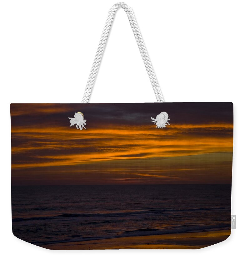 Beach Ocean Water Wave Waves Sky Cloud Clouds Sunrise Gold Golden Reflection Sand Weekender Tote Bag featuring the photograph Invisible Presence by Andrei Shliakhau