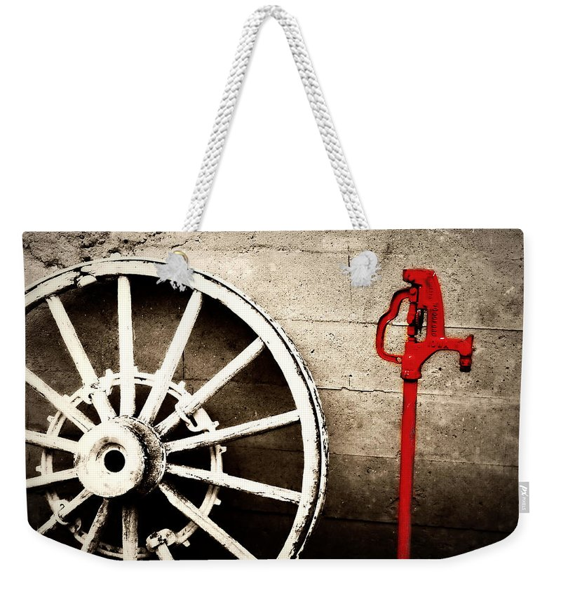 Barn Weekender Tote Bag featuring the photograph Iowa Hydrant by Julie Hamilton